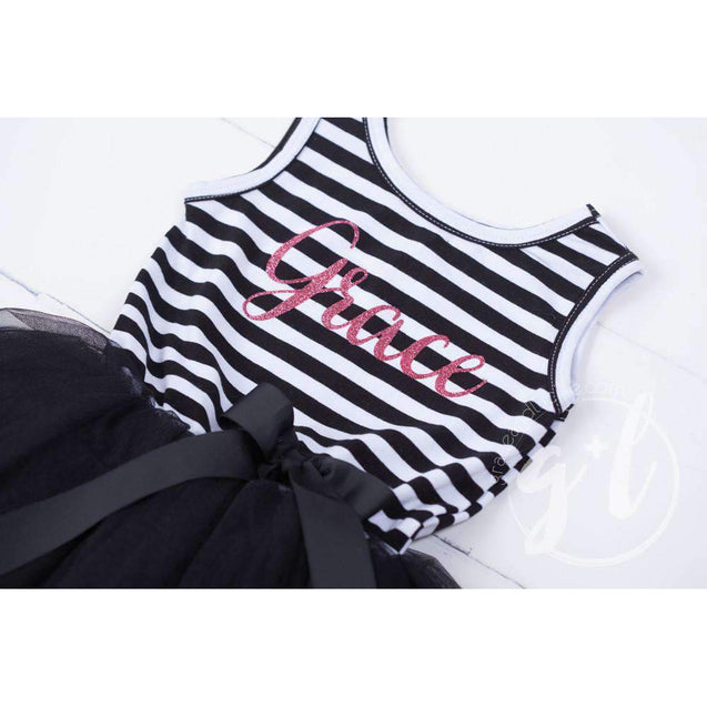 Personalized Name Magenta Script on Black Striped LONG Sleeve Dress - Grace and Lucille