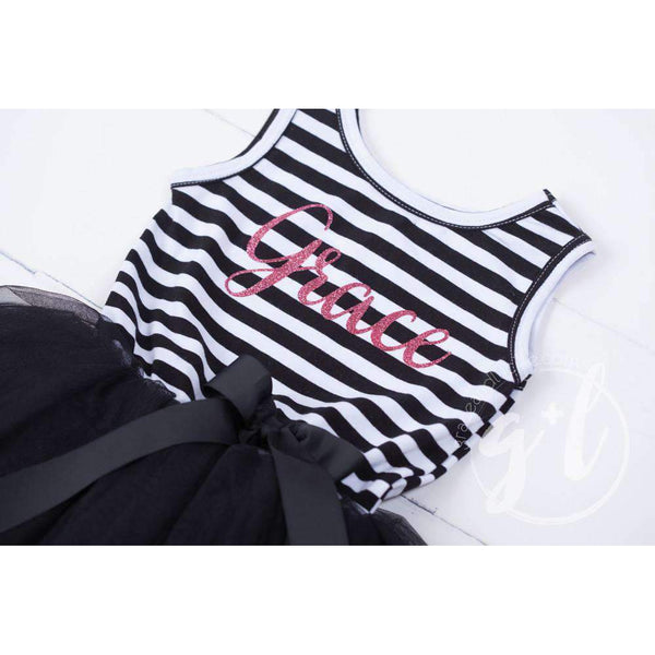 Personalized Name Magenta Script on Black Striped Sleeveless Dress - Grace and Lucille