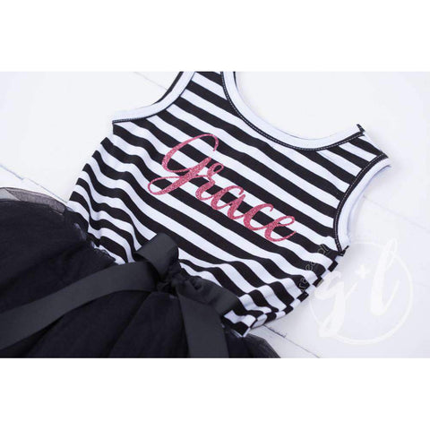 Personalized Name Magenta Script on Black Striped LONG Sleeve Dress