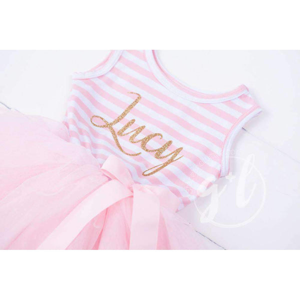 Personalized Name in Gold Script on Pink Striped Long Sleeve Dress - Grace and Lucille
