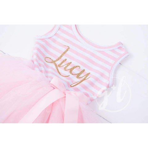 Personalized Name in Gold Script on Pink Striped Long Sleeve Dress