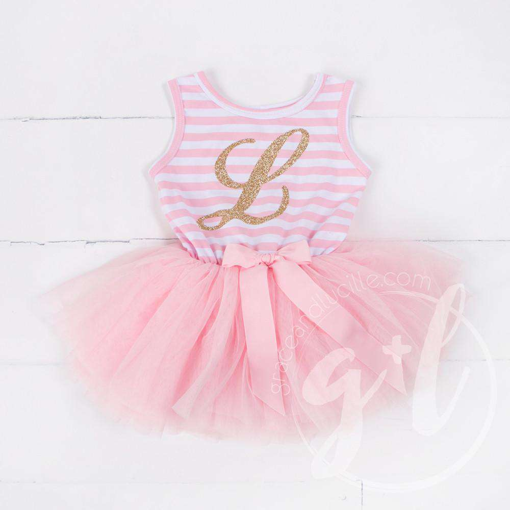 Grand Monogram Gold Script on Pink Striped Sleeveless Dress - Grace and Lucille