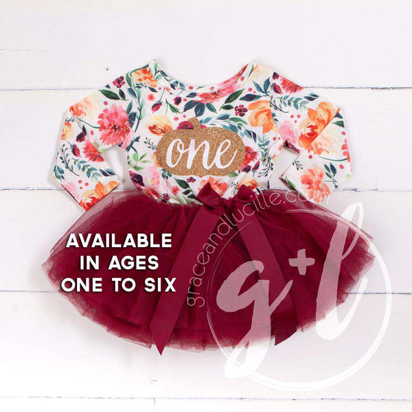 "1st Birthday Dress pumpkin Gold ""ONE"" Fall Floral Long Sleeve Dress Combo with Pink Party Hat - Grace and Lucille"