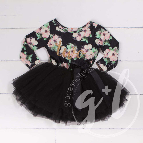 "2nd Birthday Dress Black and Blush floral with Gold ""TWO Long Sleeve Dress Combo with Pink Party Hat - Grace and Lucille"