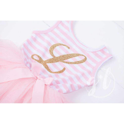Grand Monogram Gold Script on Pink Striped Long Sleeve Dress