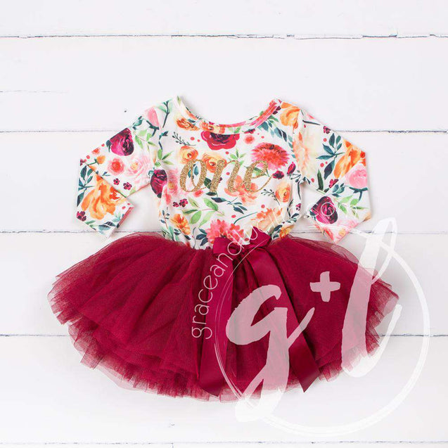 Cranberry Floral Birthday Dress - Long Sleeve Cranberry Floral Birthday Outfit