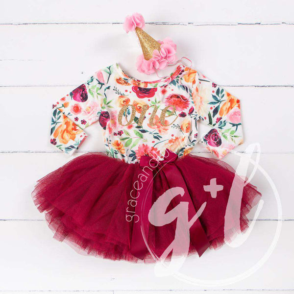 "1st Birthday Dress Gold Script ""ONE"" Cranberry Floral Long Sleeve Dress Combo with Pink Party Hat - Grace and Lucille"