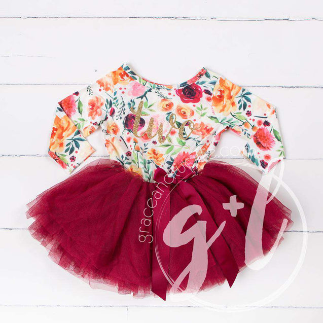 "2nd Birthday Dress Gold Script ""TWO"" Cranberry Floral Long Sleeve Dress Combo with Pink Party Hat - Grace and Lucille"