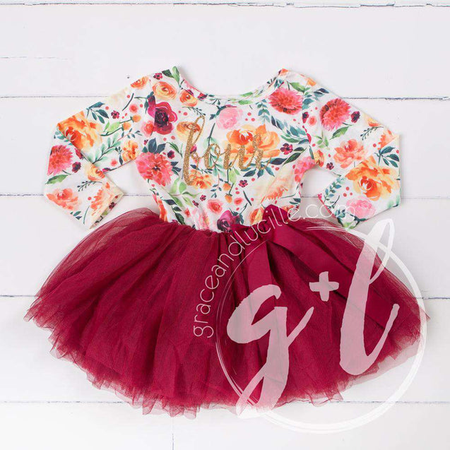 "4th Birthday Dress Gold Script ""FOUR"" Cranberry Floral Long Sleeve Dress Combo with Pink Party Hat - Grace and Lucille"