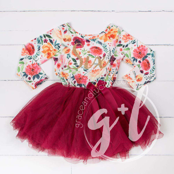 "6th Birthday Dress Gold Script ""SIX"" Cranberry Floral Long Sleeve Dress Combo with Pink Party Hat - Grace and Lucille"