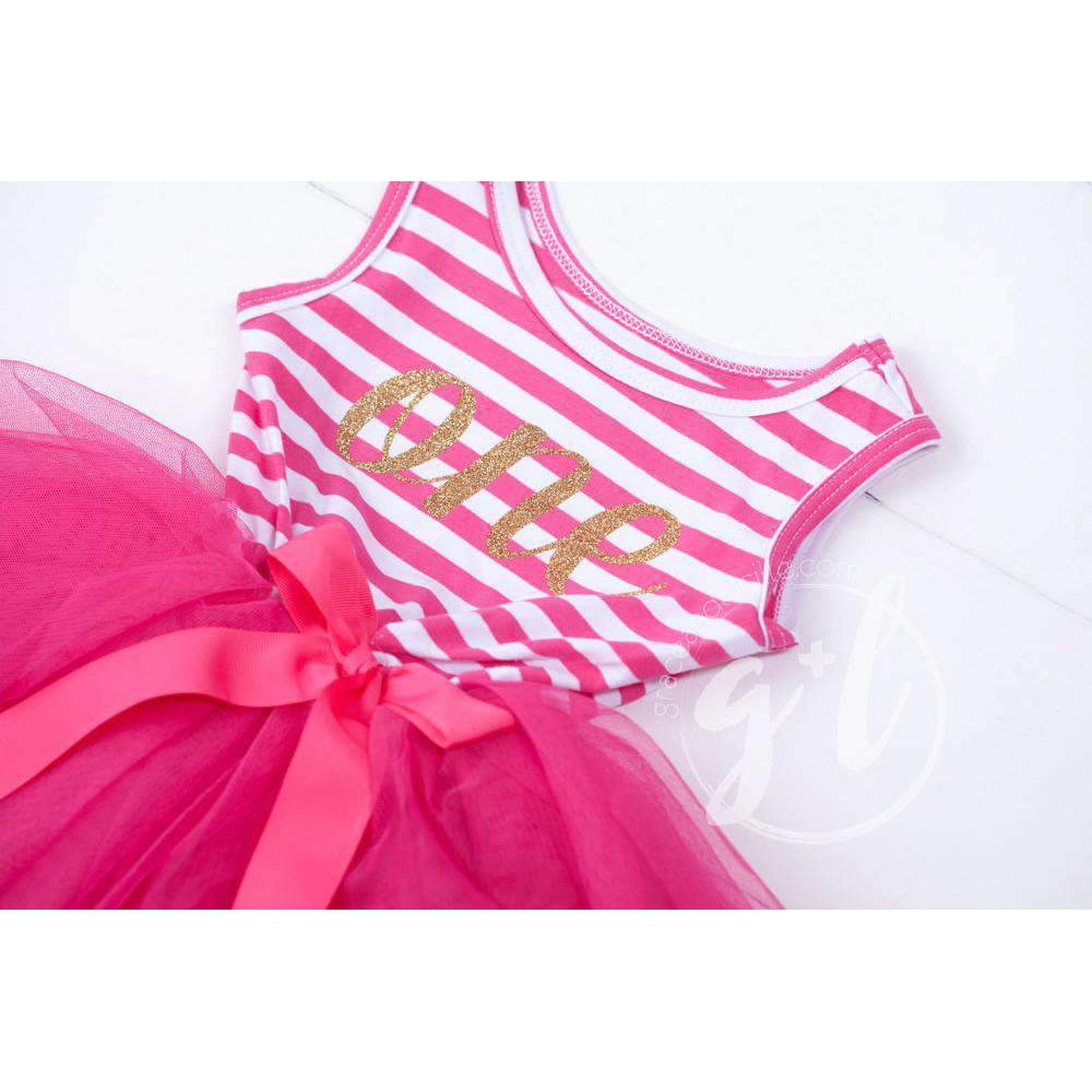 "1st Birthday Dress Gold Script ""ONE"" Magenta Striped Sleeveless - Grace and Lucille"