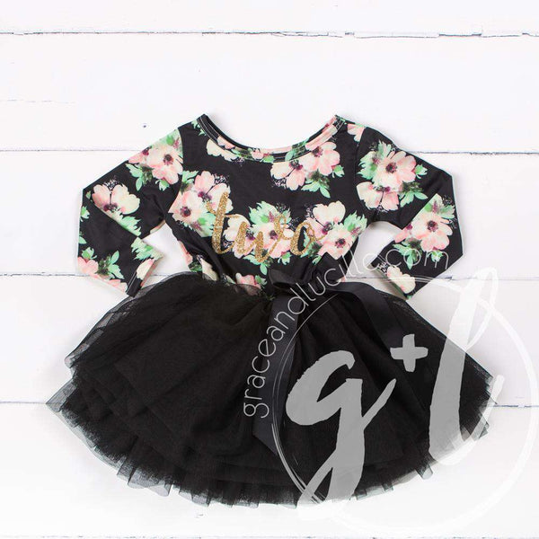 "2nd Birthday Dress Gold ""TWO"" Script Black Floral Long Sleeve Dress Combo with Gold Party Hat - Grace and Lucille"