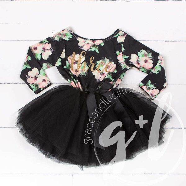 "3rd Birthday Dress Gold ""THREE"" Script Black Floral Long Sleeve Dress Combo with Gold Party Hat - Grace and Lucille"