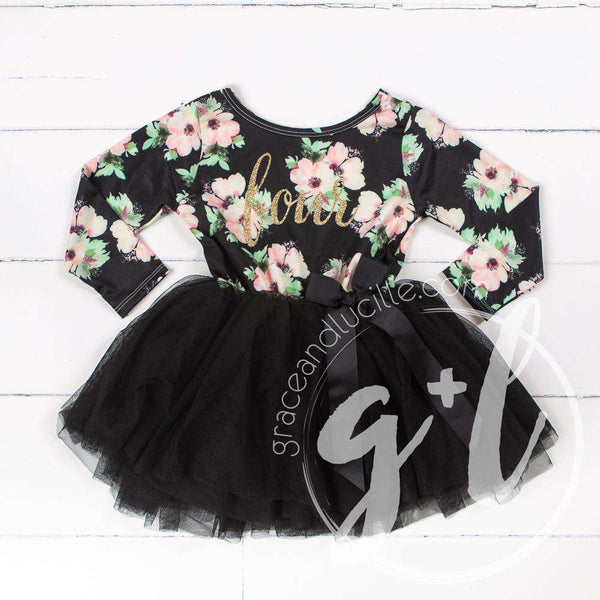 "4th Birthday Dress Gold ""FOUR"" Script Black Floral Long Sleeve Dress Combo with Gold Party Hat - Grace and Lucille"
