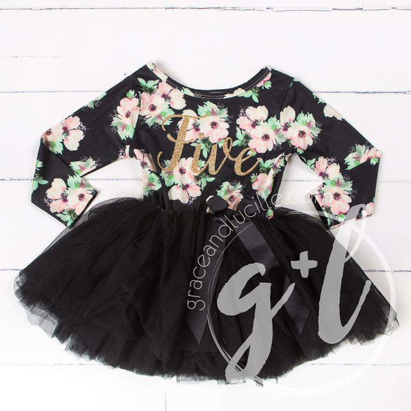 "5th Birthday Dress Gold ""FIVE"" Script Black Floral Long Sleeve Dress Combo with Gold Party Hat - Grace and Lucille"