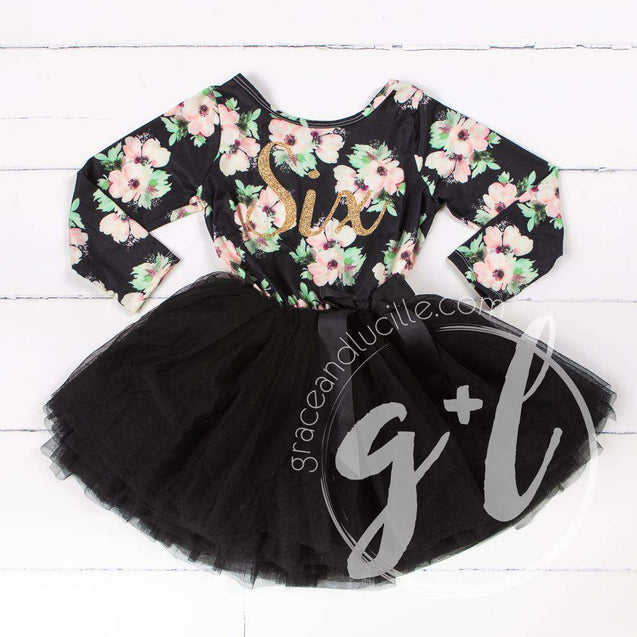 "6th Birthday Dress Gold ""SIX"" Script Black Floral Long Sleeve Dress Combo with Gold Party Hat - Grace and Lucille"