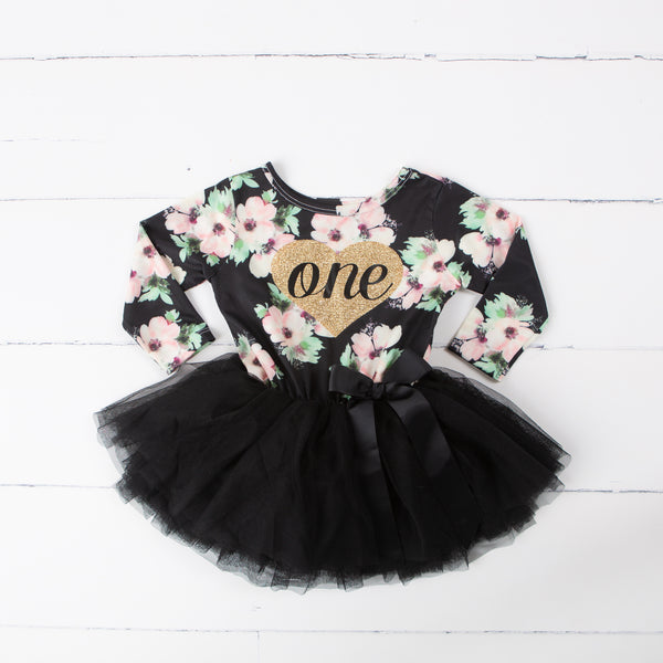 "1st Birthday Dress Heart of Gold ""ONE"" Black Floral Long Sleeve Dress Combo with Gold Party Hat"