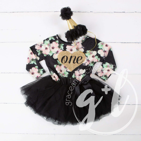 "1st Birthday Dress Heart of Gold ""ONE"" Black Floral Long Sleeve Dress Combo with Gold Party Hat - Grace and Lucille"