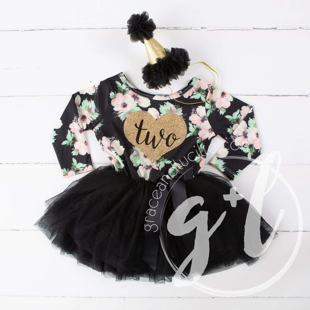 "2nd Birthday Dress Heart of Gold ""TWO"" Black Floral Long Sleeve Dress Combo with Gold Party Hat - Grace and Lucille"