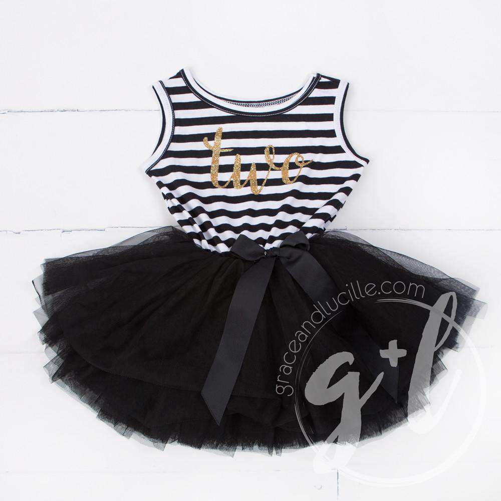 "2nd Birthday Dress Gold Script ""TWO"" Black Striped Sleeveless - Grace and Lucille"