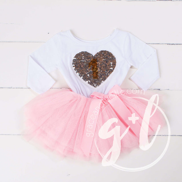 1st Birthday Outfit with FLIP Sequin Heart of Gold numeric ONE heart - Grace and Lucille