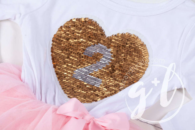 2nd Birthday Outfit with FLIP Sequin Heart of Gold numeric TWO heart - Grace and Lucille