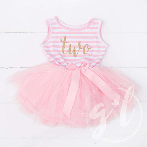 2nd Birthday Dress Gold Script