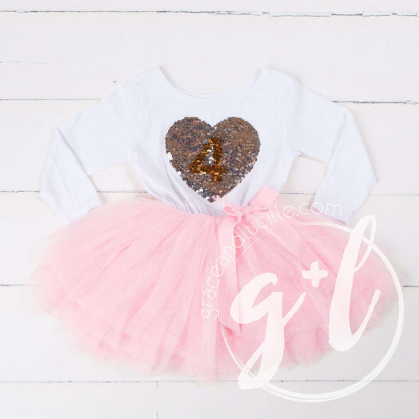 4th Birthday Outfit with FLIP Sequin Heart of Gold numeric FOUR heart - Grace and Lucille