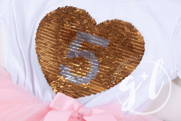 5th Birthday Outfit with FLIP Sequin Heart of Gold numeric FIVE heart - Grace and Lucille