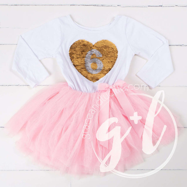 6th Birthday Outfit with FLIP Sequin Heart of Gold numeric SIX heart - Grace and Lucille