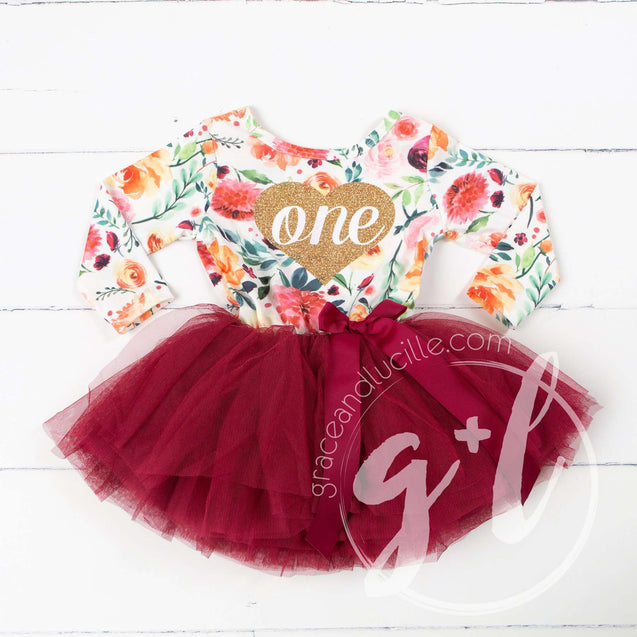 "5th Birthday Dress Heart of Gold ""FIVE"" Cranberry Floral Long Sleeve Dress Combo with Pink Party Hat - Grace and Lucille"