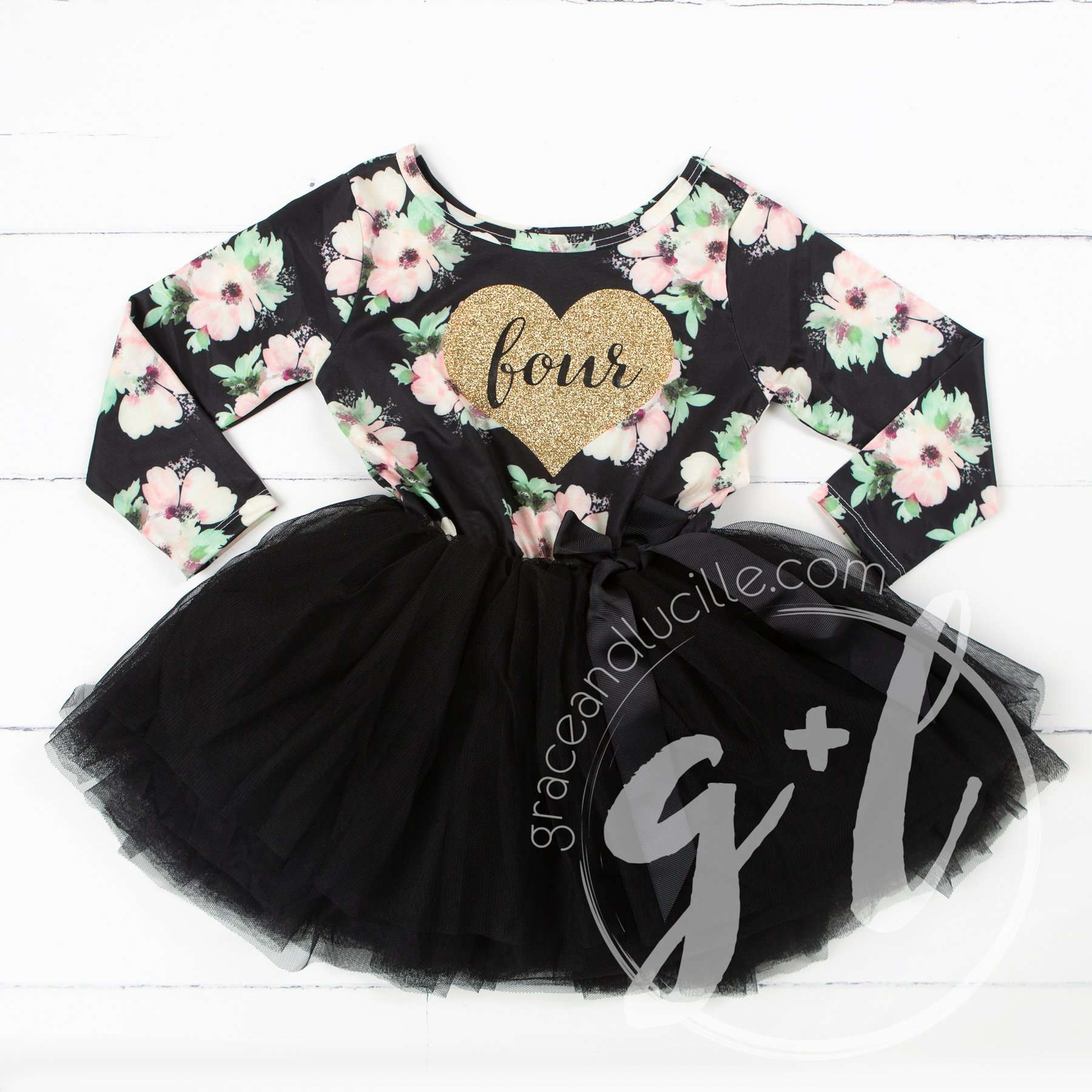 "4th Birthday Dress Heart of Gold ""FOUR"" Black Floral Long Sleeve Dress Combo with Gold Party Hat - Grace and Lucille"
