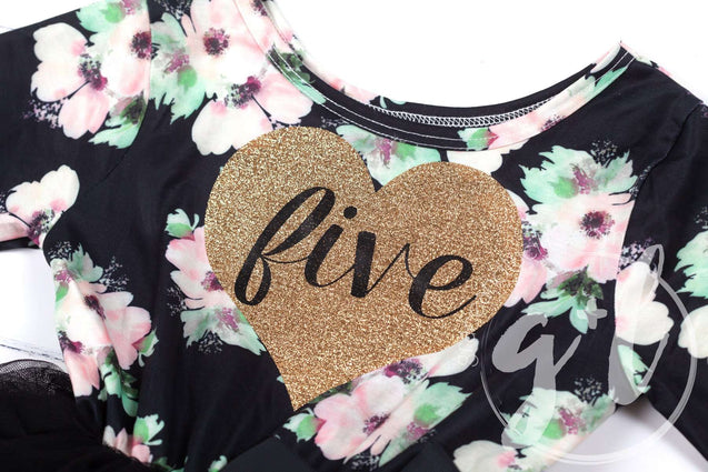 "5th Birthday Dress Heart of Gold ""FIVE"" Black Floral Long Sleeve Dress Combo with Gold Party Hat - Grace and Lucille"