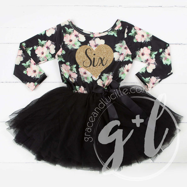 "6th Birthday Dress Heart of Gold ""SIX"" Black Floral Long Sleeve Dress Combo with Gold Party Hat - Grace and Lucille"