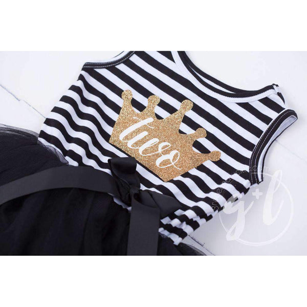 "2nd Birthday Dress Gold Crown ""TWO"" on Black Striped Sleeveless - Grace and Lucille"