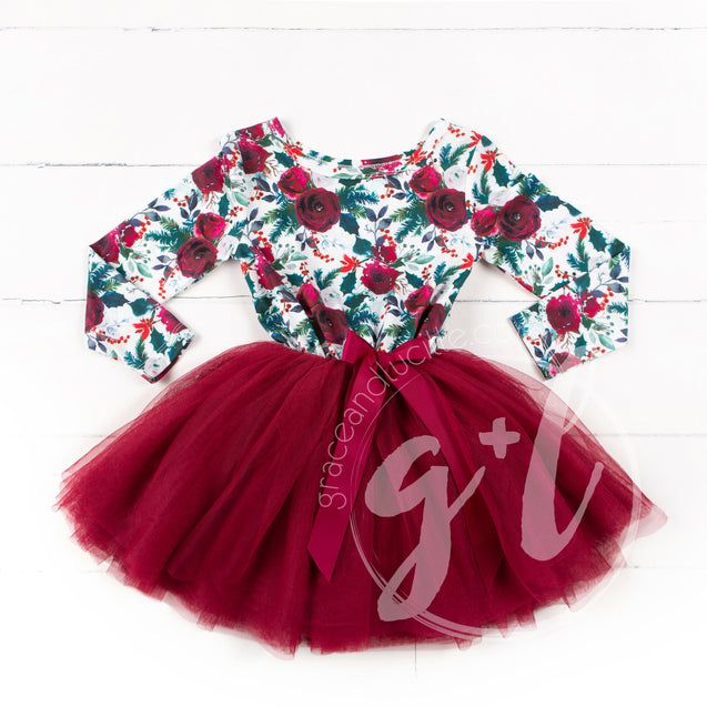 Girls floral Christmas dress - Grace and Lucille