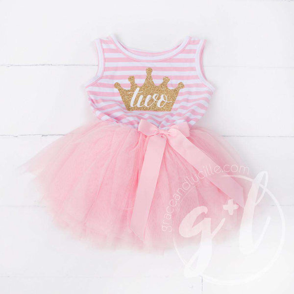 "2nd Birthday Dress Gold Crown 'TWO"" on Pink Striped Sleeveless - Grace and Lucille"