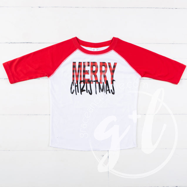 Boys Merry Christmas Raglan Tee Shirt, Buffalo Check Merry Christmas shirt - Grace and Lucille