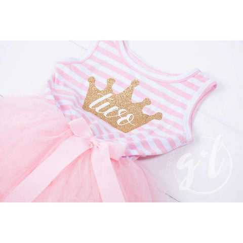 2nd Birthday Dress Gold Crown 'TWO