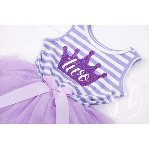 2nd Birthday Dress Purple Crown