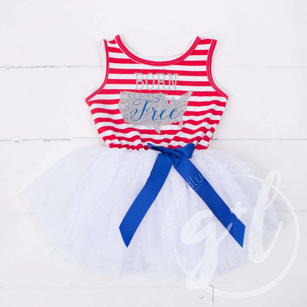 """BORN FREE"" Red, White & Blue Dress Silver USA Map Sleeveless - Grace and Lucille"