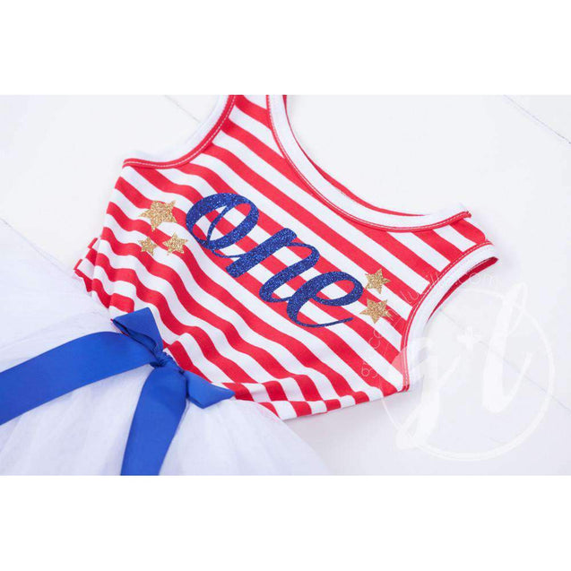 """Patriotic"" Birthday Dress with her Age, Red, White & Blue Blue Script Sleeveless - Grace and Lucille"