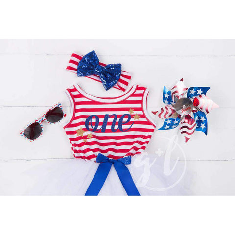 Patriotic Blue Sequined Bow on Red & White Striped Headband