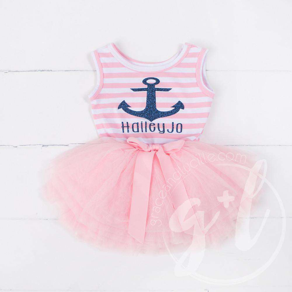 c9cded515cc Anchors Away Personalized Dress Blue Anchor Pink Striped Sleeveless