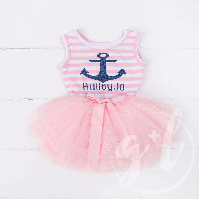 Anchors Away Personalized Dress Blue Anchor Pink Striped Sleeveless - Grace and Lucille