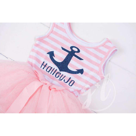Anchors Away Personalized Dress Blue Anchor Pink Striped Sleeveless