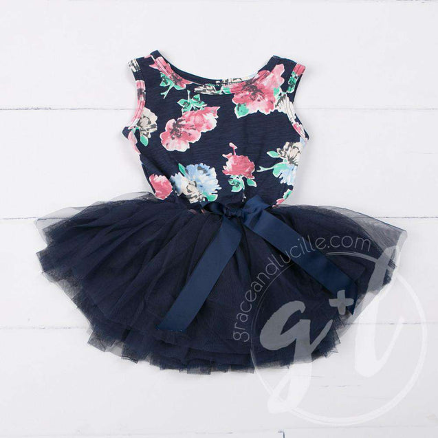 "Second Birthday Dress Heart of Gold with ""TWO"" on Navy Floral Long Sleeves - Grace and Lucille"