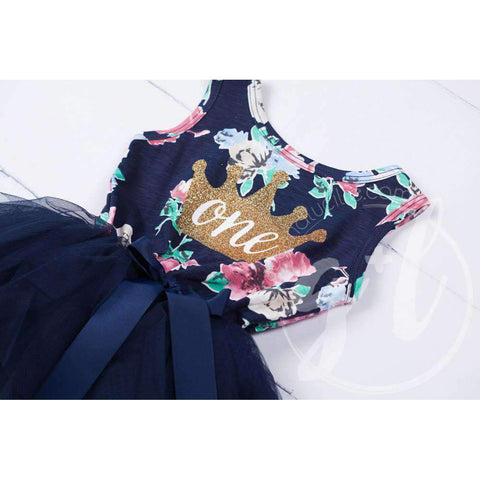 Birthday Dress Gold Crown with her AGE on Navy Floral Sleeveless