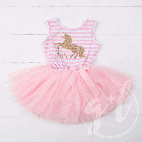 5th Birthday Dress Gold Unicorn