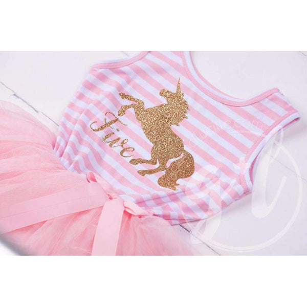 "5th Birthday Dress Gold Unicorn ""FIVE"" Pink Striped Sleeveless - Grace and Lucille"